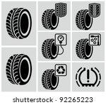 vector black tire icons. | Shutterstock .eps vector #92265223