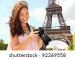 paris eiffel tower tourist with ... | Shutterstock . vector #92269558