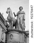 Statue at Campidoglio, Rome, Italy. Black and white. - stock photo