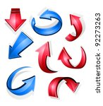 glossy arrow icons and symbols... | Shutterstock .eps vector #92273263