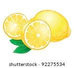 vector lemons with leaves   Shutterstock .eps vector #92275534