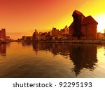 Sunset cityscape with vibrant colors. Gdansk, Poland. - stock photo