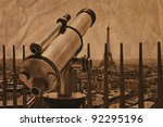 The telescope and tower Eiffel in Paris, France. /Artistic work of my own in retro style/ - stock photo