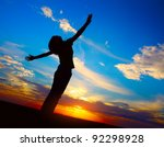 Young Woman's Silhouette At...
