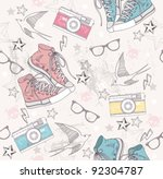 Cute grunge abstract pattern. Seamless pattern with shoes, photo cameras, glasses, stars, thunders and birds. Fun pattern for children or teenagers.
