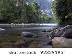 Gunung Mulu National Park river - stock photo