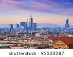View of Milan`s  business district from Duomo di Milano. - stock photo
