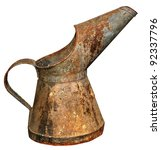 Old silver pot on a white background - stock photo