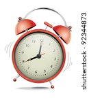 classic red alarm clock over... | Shutterstock .eps vector #92344873