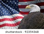 a proud bald eagle in front of... | Shutterstock . vector #92354368