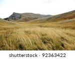 Grassland On Mountains In Autumn