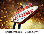 Stock photo welcome to las vegas neon sign at night 92365894