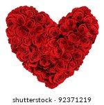 Stock photo heart shaped bouquet of red roses isolated over white background 92371219