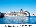 cruise ship anchored in cape...   Shutterstock . vector #92373277