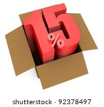 one open carton box with the 15 percent rate number that comes out (3d render) - stock photo