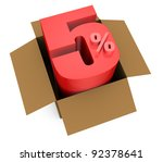one open carton box with the 5 percent rate number that comes out (3d render) - stock photo