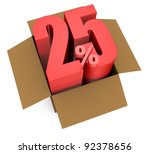 one open carton box with the 25 percent rate number that comes out (3d render) - stock photo