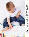 portrait of cute boy drawing... | Shutterstock . vector #92399497