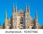 Facade of Milan Cathedral. - stock photo