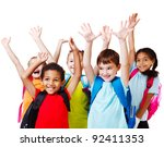 five happy children with their... | Shutterstock . vector #92411353