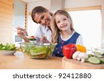 happy mother and her daughter... | Shutterstock . vector #92412880