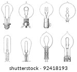 set of old light bulbs  ...