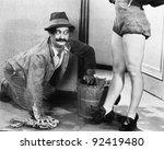 man cleaning the floor looking... | Shutterstock . vector #92419480