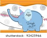 cute elephant | Shutterstock .eps vector #92425966