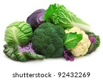 Collection Cabbages Isolated On ...