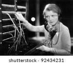 young woman working as a... | Shutterstock . vector #92434231
