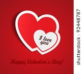 double red heart paper sticker...