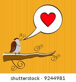 yellow valentine's card with... | Shutterstock .eps vector #9244981