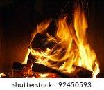 closeup of firewood burning in... | Shutterstock . vector #92450593