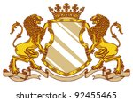 engraved medieval crest with...