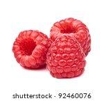 ripe red raspberry  on white... | Shutterstock . vector #92460076
