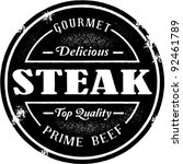 vintage style steak stamp | Shutterstock .eps vector #92461789