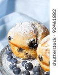 Fresh blueberry muffins, dusted with powdered sugar.  Soft focus. - stock photo
