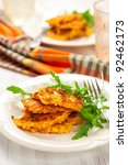 carrot pancakes with rucola and ... | Shutterstock . vector #92462173