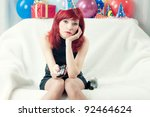 sad red haired party woman...   Shutterstock . vector #92464624