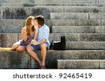 a couple traveling sit on the... | Shutterstock . vector #92465419