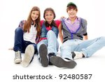 happy friends looking at camera ... | Shutterstock . vector #92480587