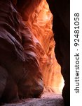 Reflected Light In Slot Canyon - stock photo