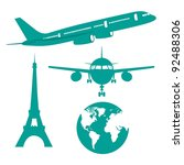silhouette plane  earth and... | Shutterstock .eps vector #92488306