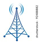 blue tower with radio isolated... | Shutterstock .eps vector #92488882