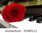 single red rose on the piano...   Shutterstock . vector #92489212