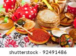 Russian Shrovetide table - pancake with caviar and tea - stock photo