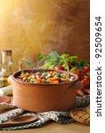 steaming vegetables soup | Shutterstock . vector #92509654