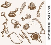 set of hand drawn vintage...   Shutterstock .eps vector #92517706