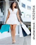 gorgeous shopping woman walking ... | Shutterstock . vector #92525416