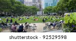 NEW YORK - JUNE 16: People enjoying a nice day in Bryant Park on June 16, 2011 in New York City, NY. Bryant Park is a 9,603 acre privately managed park in the center of Manhattan. - stock photo